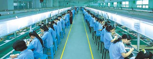 Foxconn-medewerkers in één van de fabrieken.
