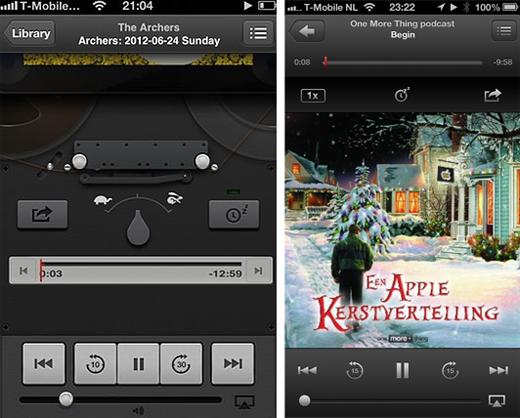 De Podcast-app voor (links) en na de update.