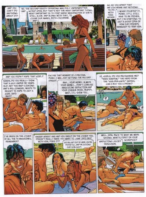 Een voorbeeldpagina uit de strip 'Largo Winch' met daarop een strandscène.