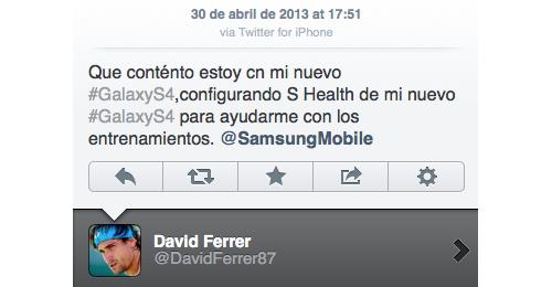 De tennisser liet via zijn iPhone weten erg blij te zijn met zijn Galaxy.