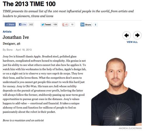 Johnatan Ive in de TIME 100 van 2013.