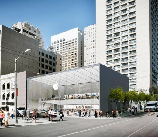 Rendering van de nieuwe Apple Store aan Union Square