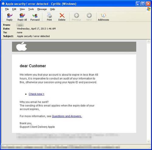 Een voorbeeld van een Phishing e-mail gericht op Apple ID's.