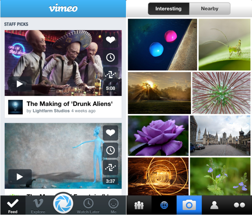 De iOS-apps van Vimeo en Flickr.