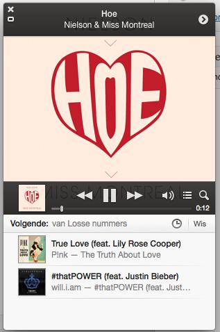De miniplayer in iTunes 11.0.3 met uitgeklapte cover.