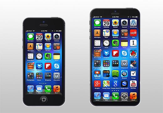 Links een iPhone 5, rechst een phablet iPhone