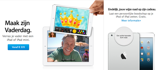 Vaderdagactie in de Online Apple Store.