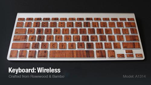Ook voor het Apple Wireless Keyboard zijn houten toetsen gemaakt.