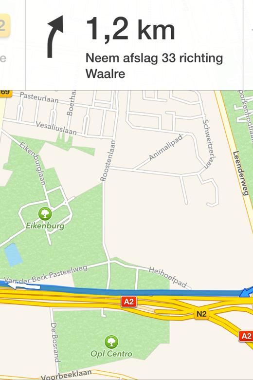 De fullscreen-modus van Apple Maps.