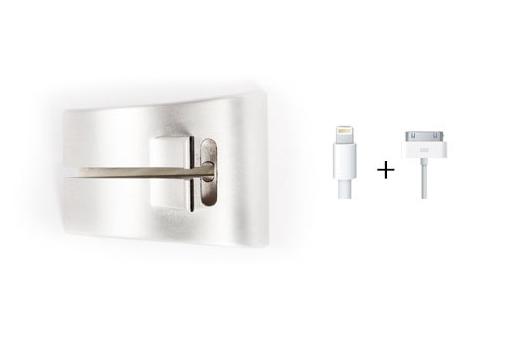 In slimme ontwerp passen de Apple-kabels.