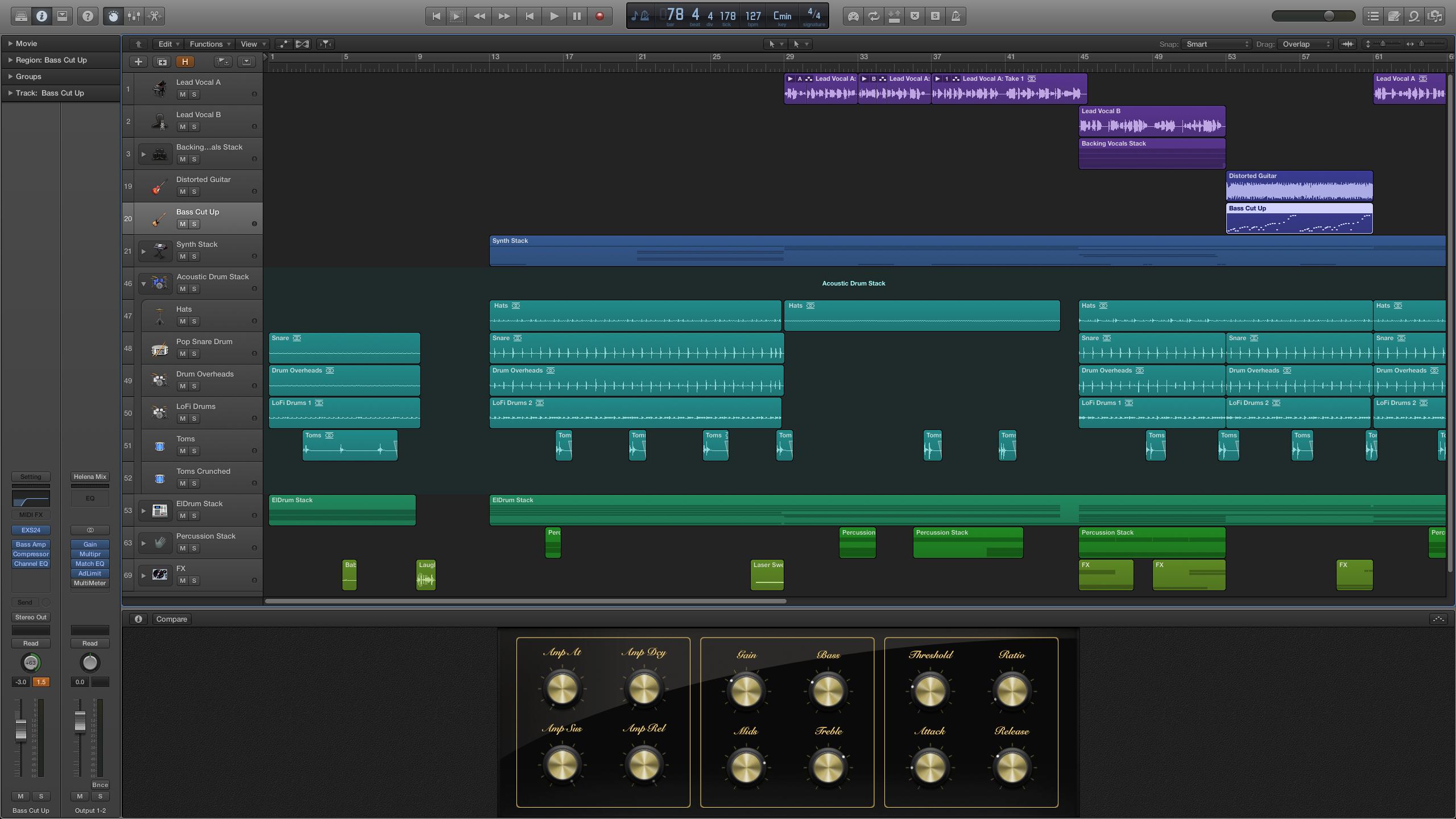 De interface van Logic Pro X. (klik voor groter)