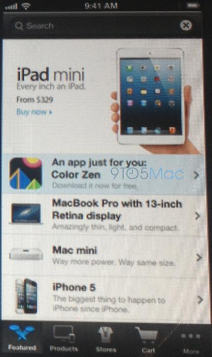 Een foto/screenshot van de nieuwe Apple Store-app.