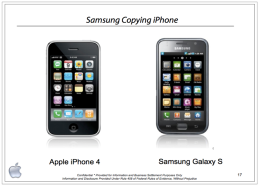 Samsung werd in de zomer van 2012 schuldig bevonden aan het kopiëren van het uiterlijk van de van iPhone