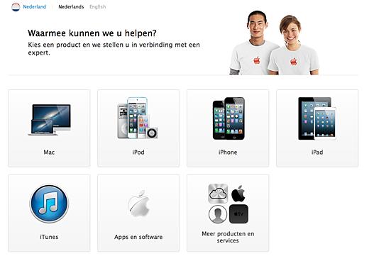 De nieuwe opzet van de AppleCare-website.