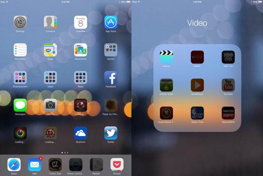 De grijzige apps worden bij het eerste gebruik gedownload.