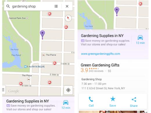Een voorbeeld van advertenties in Google Maps.