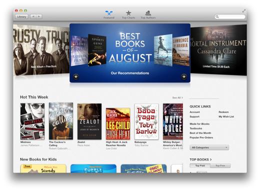 De iBooks-store lijkt op iTunes.