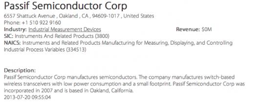 Passif Semiconductor in een bedrijvengids.
