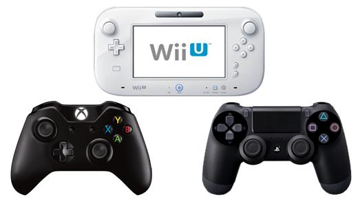 Controllers voor de Wii U, Microsoft XBOX One en Sony PS4.