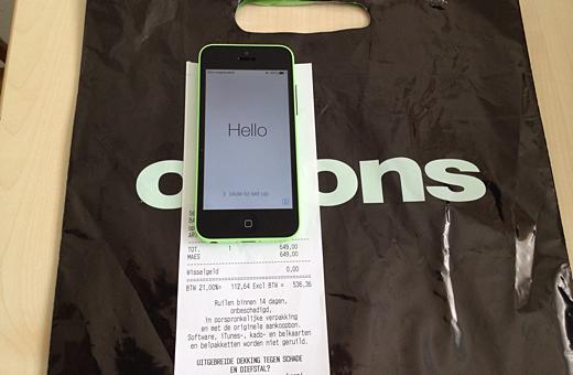 Dixons leverde de iPhone 5c vandaag uit.