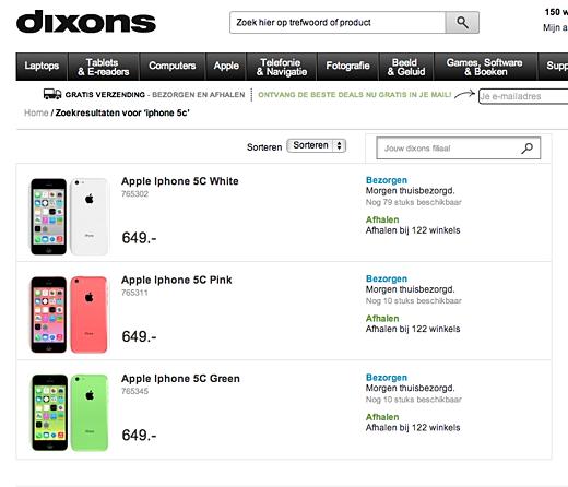 Dixons heeft de iPhone 5c op voorraad.