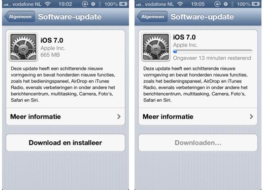 Het downloaden van iOS 7 kan beginnen.