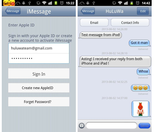 'iMessage Chat' op Android.