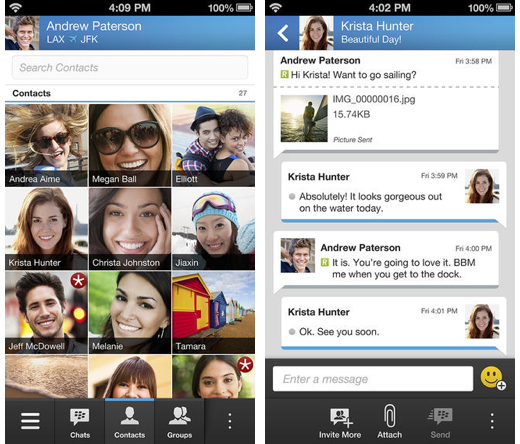 BlackBerry Messenger op iOS.