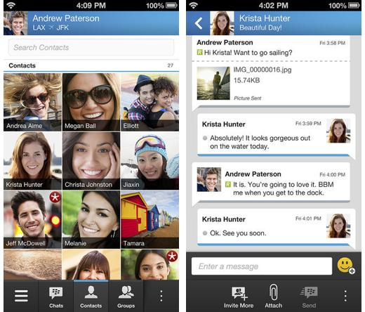 BlackBerry Messenger op iOS.