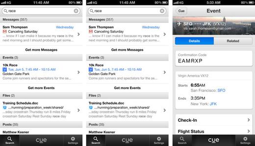 Cue lijkt enigszins op het berichtencentrum van iOS 7.