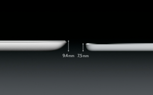 De iPad Air is niet alleen lichter, maar ook aanzienlijk dunner.