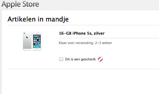 Actuele levertijd van de iPhone 5s.
