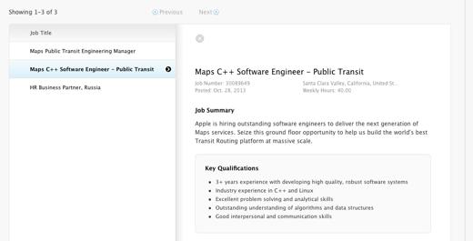 Apple zoekt Maps Public Transit Engineers en een Manager.