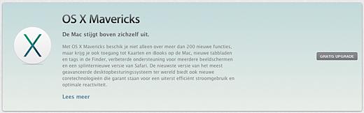 OS X 10.9 Mavericks staat inmiddels klaar om geïnstalleerd te worden.