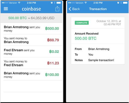 Coinbase op iOS.