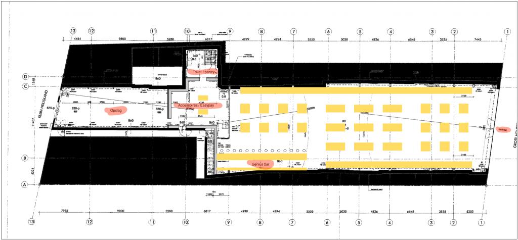 Indicatieve schets van de indeling van de Apple Store in Haarlem