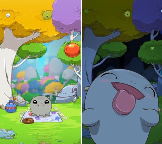 Fugu-beestje 'Grey' in zijn natuurlijke iOS-habitat.