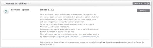 iTunes 11.1.3 is beschikbaar.