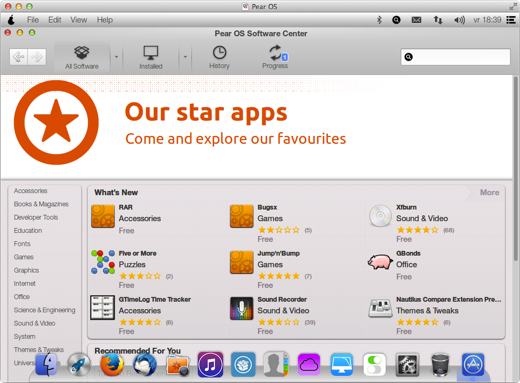 Het Software Center brengt weinig verrassende apps.