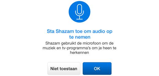 iOS vraagt toestemming voor gebruik van contacten, berichten, de camera of microfoon.