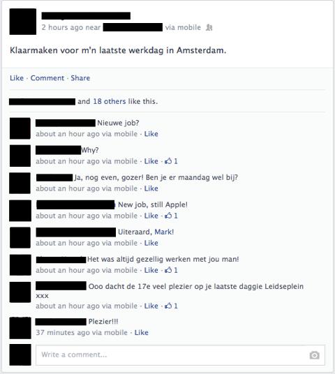 Eén van de Facebookberichten waarin Amsterdamse Store-medewerkers hun vertrek aankondigen.