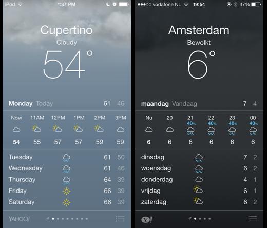 iOS 7.1 bèta (links) bevat een nieuw Yahoo-logo in de Weer-app.