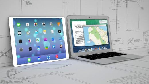 """Een render van een 12,9"""" iPad naast de 13"""" MacBook Air - Bron:"""