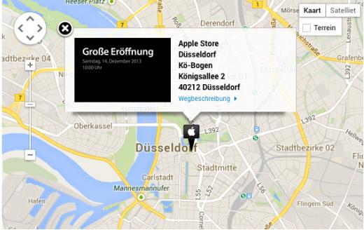 De nieuwe Apple Store is gelegen in het centrum van Düsseldorf.
