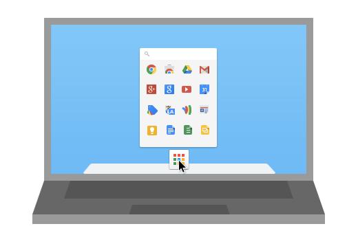 De Chrome App Launcher in de illustratie van Google.
