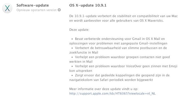 Releasenotes van de OS X 10.9.1 update.