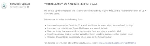 OS X 10.9.1 pre-releasenotes