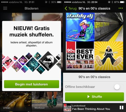 Shuffle gratis door afspeellijsten in Spotify op iOS.