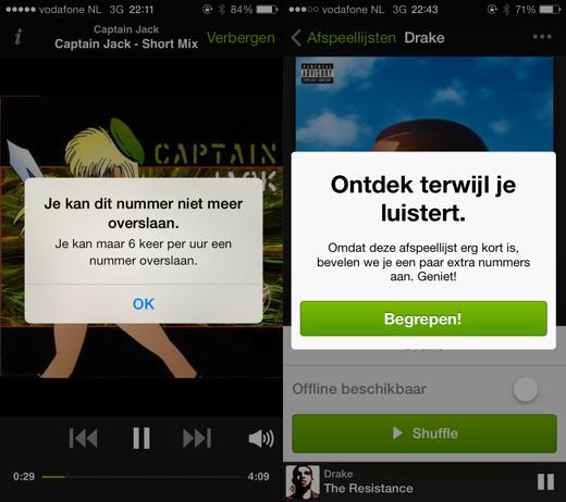 Duidelijke limieten in de gratis versie van Spotify voor iPhone.