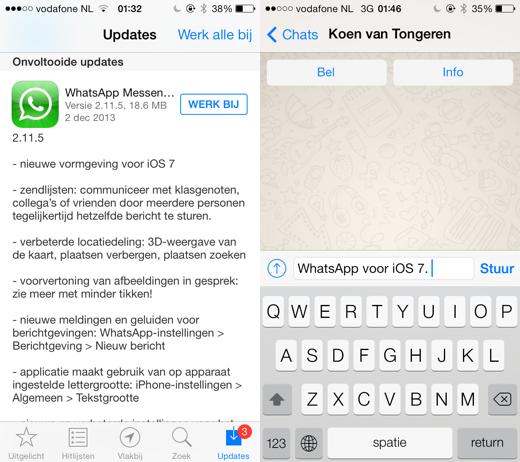 WhatsApp voor iOS 7.
